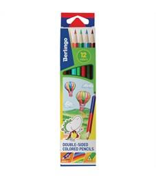 """Карандаши цветные двусторонние Berlingo """"Воздушные шары"""" 12цв., 06шт., трехгр., заточ.,картон,европ."""