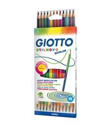 """Карандаши цветные двусторонние Giotto """"Stilnovo Bicolor"""", 24цв., 12шт., заточен., картон, европодвес"""