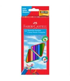 Карандаши цветные Faber-Castell 12цв., трехгран., заточен., картон, европодвес, с точилкой