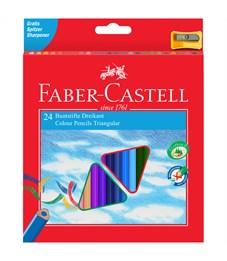 Карандаши цветные Faber-Castell 24цв., трехгран., заточен., картон, европодвес, с точилкой