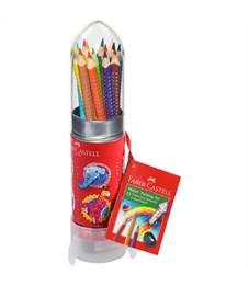 "Карандаши цветные Faber-Castell ""Grip"", 12цв., трехгран., заточен., метал. кор. в форме ракеты"