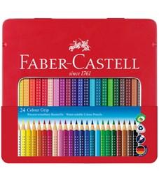 "Карандаши цветные Faber-Castell ""Grip"", 24цв., трехгран., заточен., метал. упак."