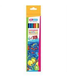 """Карандаши цветные пластиковые ArtSpace """"Подводный мир"""", 06цв., заточен., картон, европодвес"""
