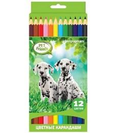 Карандаши цветные SchoolФормат Любимые питомцы 12 цветов