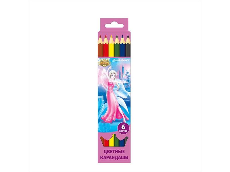 Карандаши цветные schoolФормат Принцессы-волшебницы, 6 цветов