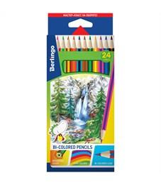 """Карандаши с двухцветным грифелем Berlingo """"Водопад"""", 12шт., 24цв., картон., европодвес"""