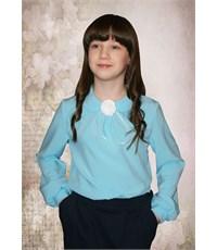 Нарядная блузка Mattiel с декоративным украшением Розочка бирюзовая