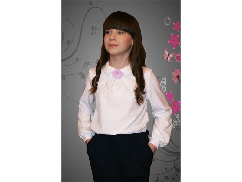 Нарядная блузка Mattiel с декоративным украшением Розочка цвет белый