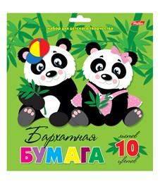 """Бархатная бумага А5, Hatber """"Две панды"""", 10л., 10цв. в папке с европодвесом"""