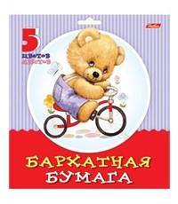 Бархатная бумага Hatber Милые пушистики 5л., 5цв., А5