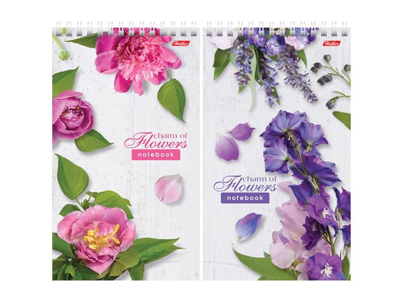 """Блокнот А5 60л. на гребне Hatber """"Flowers"""", линия, пластиковая обложка, жесткая подложка, 80 г/м2"""