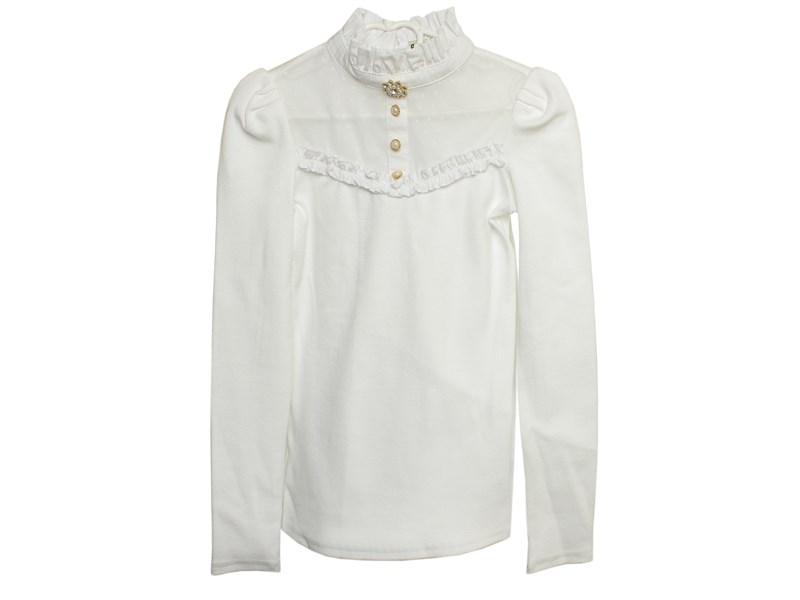 Блузка школьная Маленькая леди белая с воротником стойкой