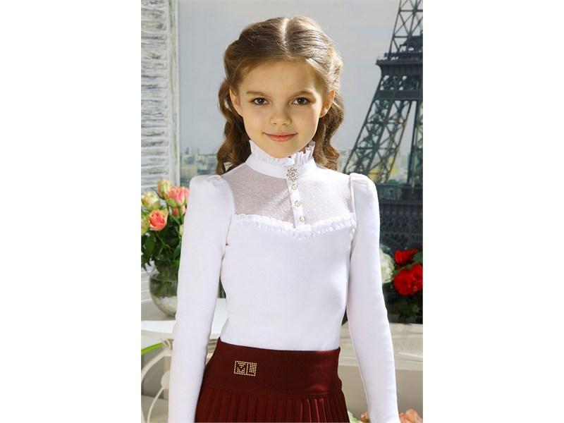 26fc682c617 Блузка школьная Маленькая леди белая с воротником стойкой 1397 1-515 ...
