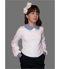 Блузка Mattiel белая с синим воротничком