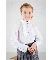 Блузка школьная Инфанта с кантом на груди, белая