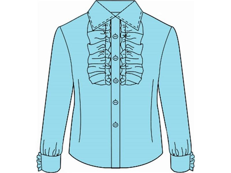 Блузка школьная Инфанта с кантом на груди, голубая