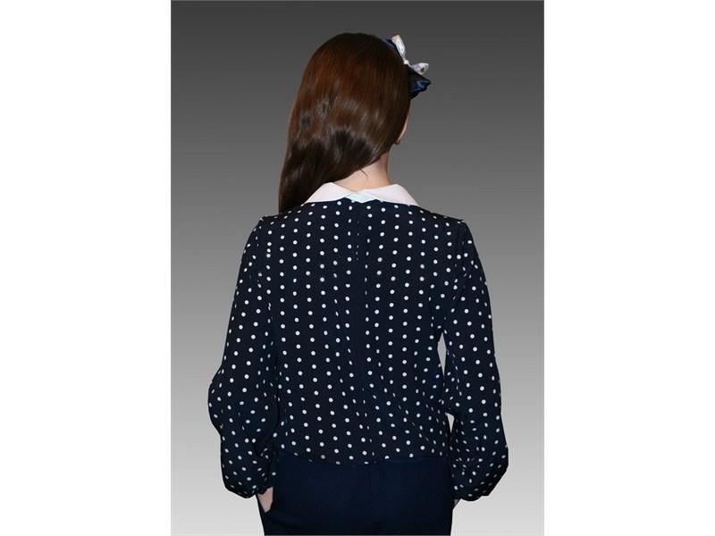 Блузка школьная Mattiel D001-146 темно-синяя в белый горошек