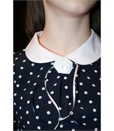 Фото 2. Блузка школьная Mattiel D001-146 темно-синяя в белый горошек