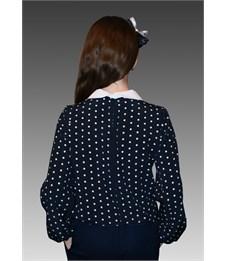Фото 3. Блузка школьная Mattiel D001-146 темно-синяя в белый горошек