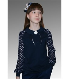 Блузка школьная Mattiel D058-140 тёмно-синяя, рукава в горох