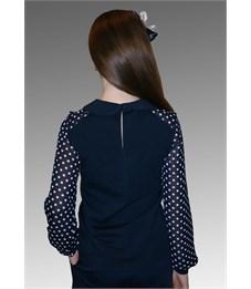 Фото 3. Блузка школьная Mattiel D058-140 тёмно-синяя, рукава в горох