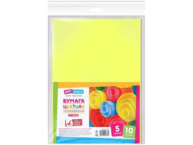 Цветная бумага A4, ArtSpace, 10л., 5цв., тонированная, неоновая, в пакете с европодввесом