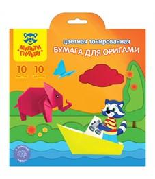 Цветная бумага для оригами Мульти-Пульти, 200*200мм, 10л., 10цв., в папке с европодвесом