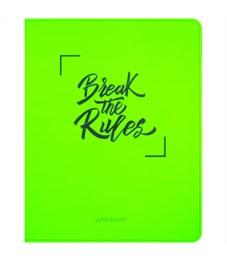 """Дневник 1-11 кл. 48л. (лайт) """"Break the rules. Green"""", неон. иск.кожа, тиснение, тонир. блок, ляссе"""
