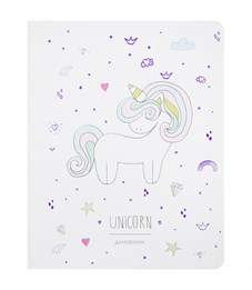"""Дневник 1-11 кл. 48л. (лайт) """"Cute unicorn"""", иск.кожа, полноцветная печать, тисн., тонир. блок,ляссе"""