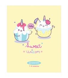 "Дневник 1-4 кл. 48л. ""Рисунки. Sweet unicorn"", ВД-лак"