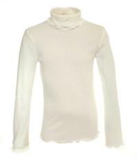 Джемпер белый Снег с двойным воротом и вышивкой 951-ДДВ-07