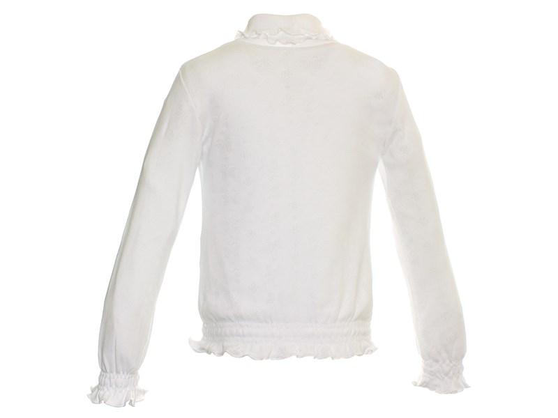 Джемпер белый Снег ажурный с резинкой длинный рукав