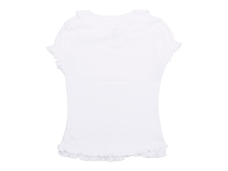 Джемпер для девочки Снег белый, короткие рукава-фонарики