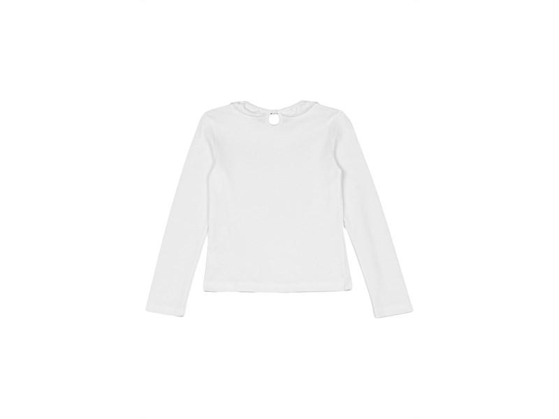 Джемпер для девочки Снег белый с рюшкой по воротнику, длинный рукав