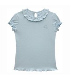 Джемпер для девочки Снег голубой, короткие рукава-фонарики