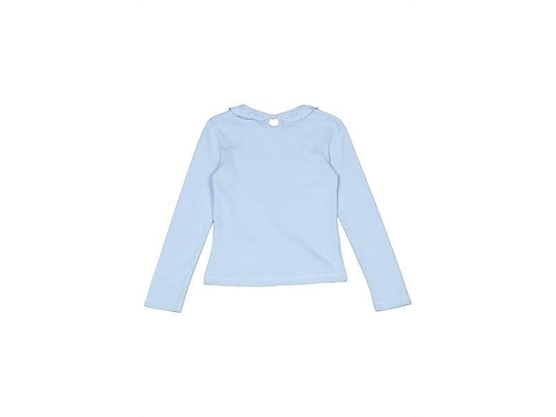 Джемпер для девочки Снег голубой с рюшкой по воротнику, длинный рукав