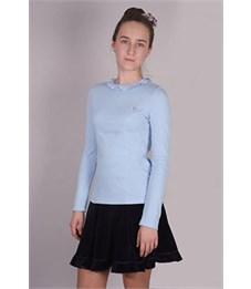 Фото 3. Джемпер для девочки Снег голубой с рюшкой по воротнику, длинный рукав