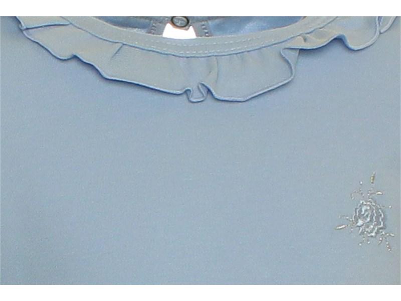 Джемпер для девочки голубой Снег с рюшкой по воротнику