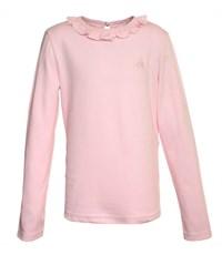 Джемпер для девочки розовый с рюшкой по воротнику
