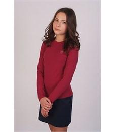 Джемпер для девочки Снег бордо со стразами, длинный рукав