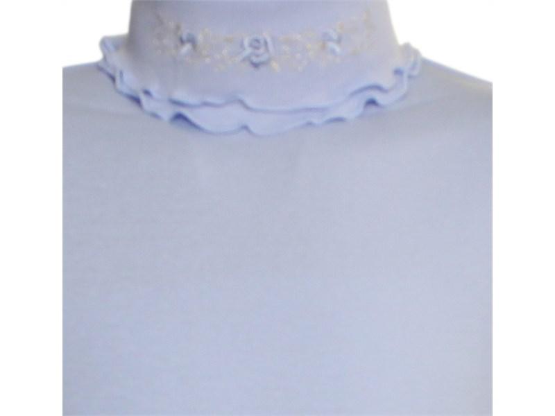 Джемпер Снег голубой с двойным воротом и вышивкой 951-ДДВ-07