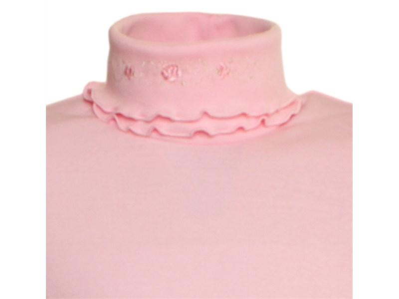 Джемпер Снег розовый с двойным воротом и вышивкой 951-ДДВ-07