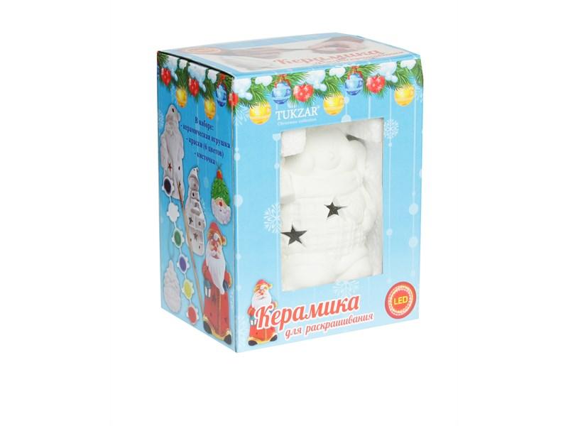 Керамический сувенир для раскрашивания Tukzar Снеговик, с LED подсветкой