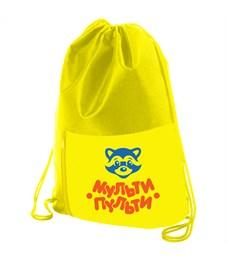 """Мешок для обуви 1 отделение Мульти-Пульти """"Приключения Енота"""", карман на молнии, желтый"""