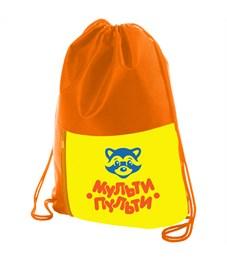 """Мешок для обуви 1 отделение Мульти-Пульти """"Приключения Енота"""", карман на молнии, оранжевый"""