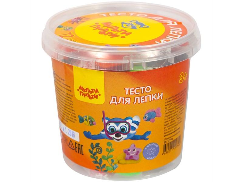 """Тесто для лепки Мульти-Пульти """"Приключения Енота"""", 12 цветов*15г, пластиковое ведро, 2 формочки"""