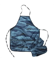 Фартук с нарукавниками ArtSpace, 3 кармана, камуфляж синий