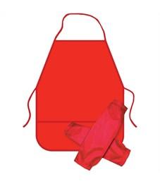 Фартук с нарукавниками ArtSpace, 49*40см, 2 кармана, красный