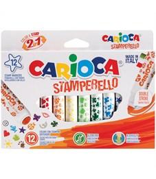 """Фломастеры-штампы двусторонние Carioca """"Stamp Markers"""", 12цв., смываемые, картон, европодвес"""