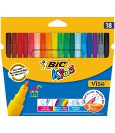 """Фломастеры Bic """"Visa 880"""", 18цв., смываемые, картон, европодвес"""